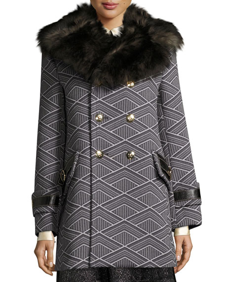 Marc Jacobs Geo-Diamond Techno Coat with Fur Collar