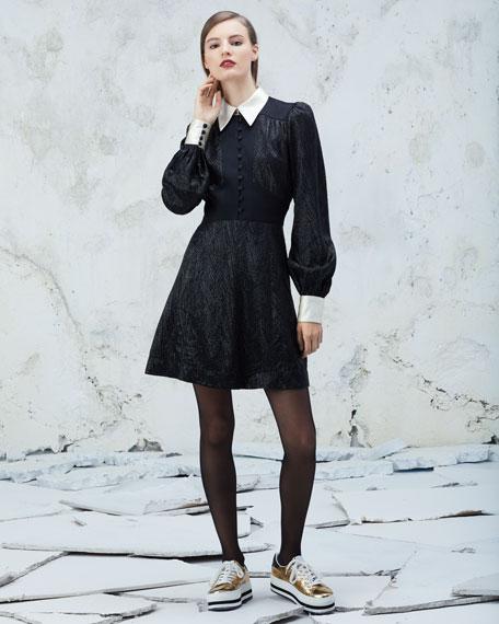 Collared Metallic Chevron Charmeuse Dress