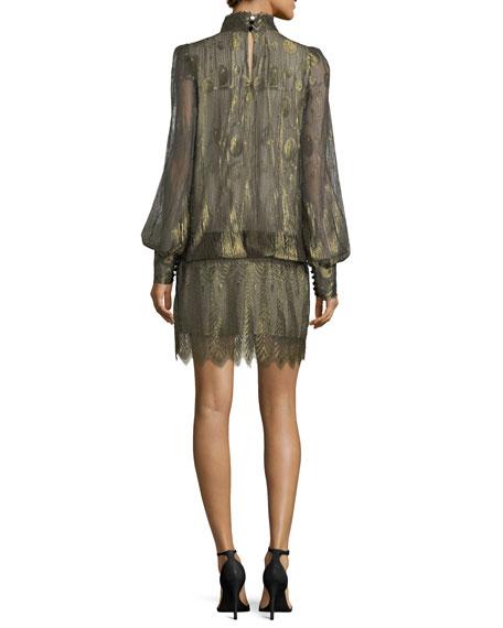 Metallic Mock-Neck Blouson Dress