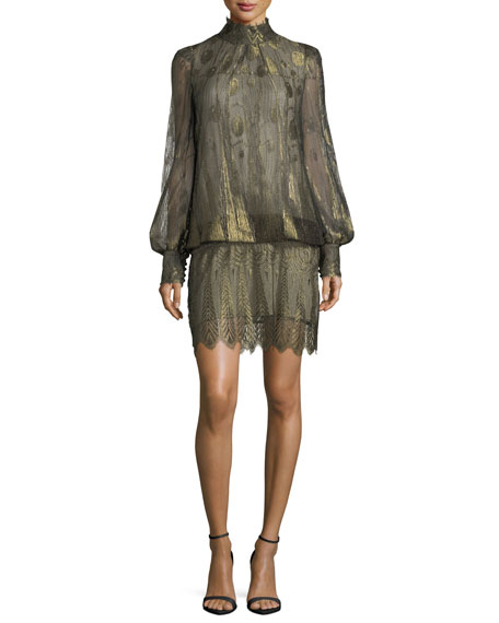 Marc Jacobs Metallic Mock-Neck Blouson Dress