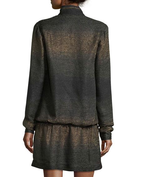 Metallic Knit Half-Zip Mini Dress