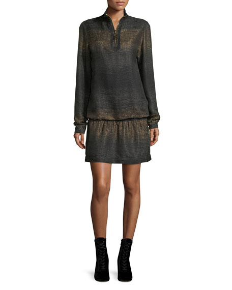 Metallic Knit Half-Zip Mini Dress