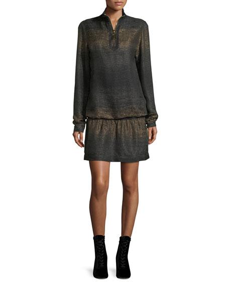 Marc Jacobs Metallic Knit Half-Zip Mini Dress