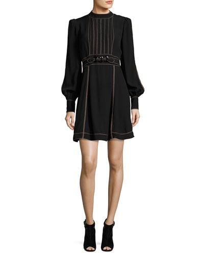 Long-Sleeve Belted Minidress, Black