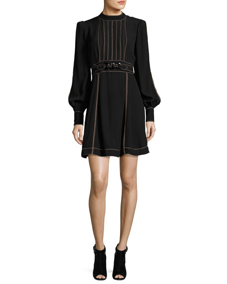 Long-Sleeve Belted Minidress, Black