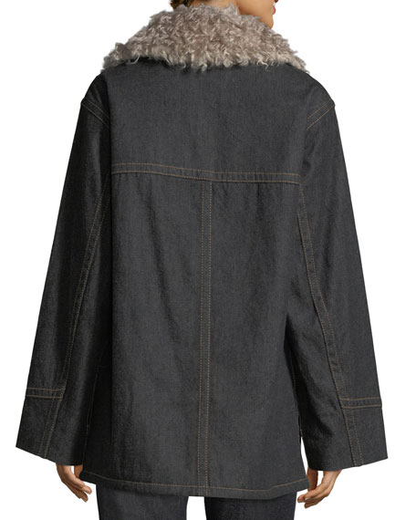 Snap-Front Oversized Patch-Pocket Denim Coat w/ Faux Fur
