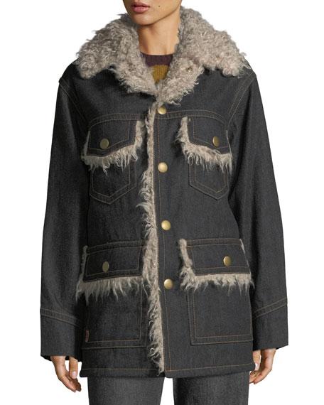 Snap-Front Oversized Patch-Pocket Denim Coat w/ Faux Fur