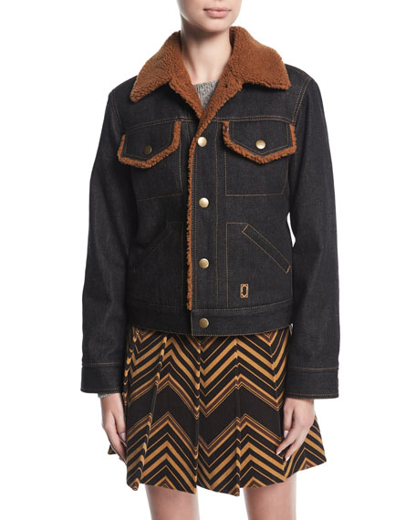 Marc Jacobs Cropped Denim Jacket with Fur Fur