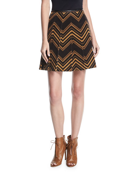 Pleated Chevron Corduroy Miniskirt