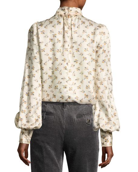 Floral Silk Charmeuse High-Neck Top