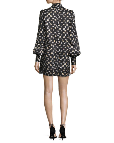 Geometric-Floral Silk Jacquard Shift Dress
