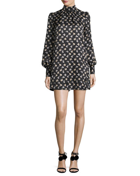 Geometric-Floral Silk Jacquard Shift Dress