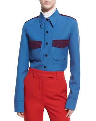 Wool Twill Western Shirt, Blue