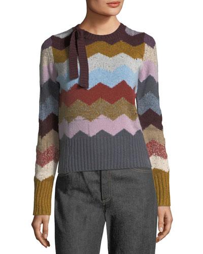Chevron Knit Cashmere Sweater