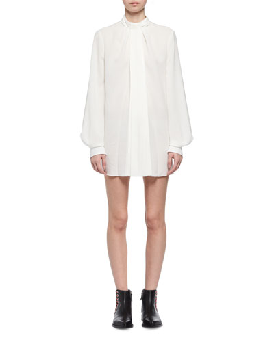 Tie-Neck Silk Poet-Sleeve Minidress