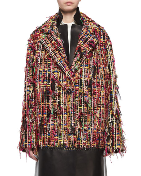 Alexander McQueen Wishing Tree Tweed Oversized Caban Coat