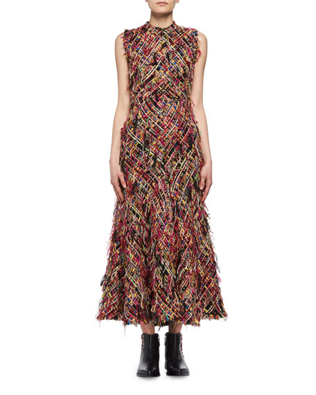 Wishing Tree Fringe Tweed Sleeveless Midi Dress, Multicolor