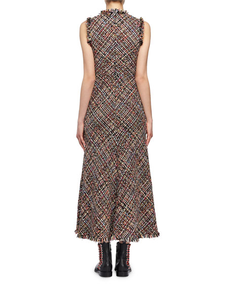 Alexander McQueen Wishing Tree Tweed Sleeveless Midi Dress, Black Pattern