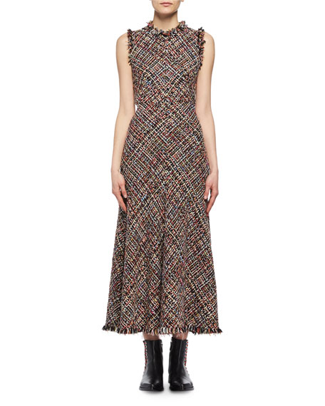 Wishing Tree Tweed Sleeveless Midi Dress, Black Pattern