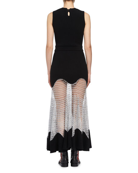 Sleeveless Knit Midi Dress with Netted Skirt, Black/Silver
