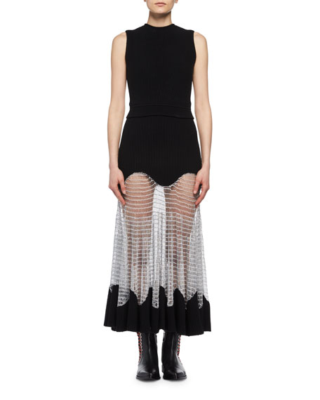 Alexander McQueen Sleeveless Knit Midi Dress with Netted