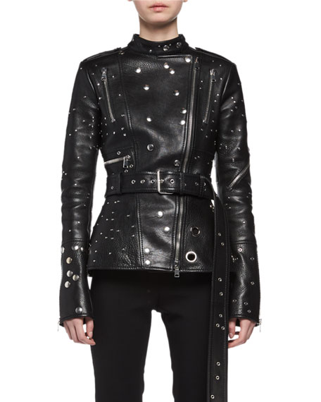 Alexander McQueen Studded Leather Biker Jacket, Black and