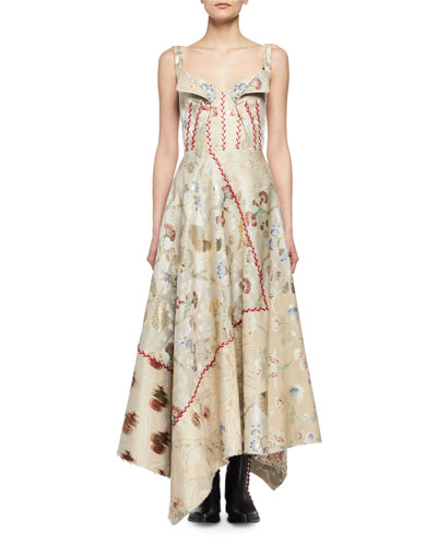Embroidered Jacquard Corset Gown