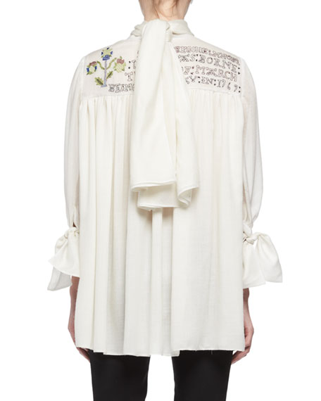 Embroidered Voile Peasant Blouse