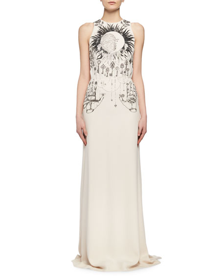 Magic Hand Embroidered Crepe Column Gown