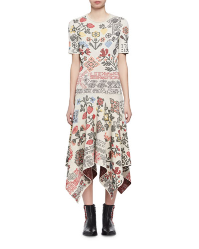 Needlepoint Jacquard Handkerchief-Hem Midi Dress