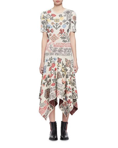 Needlepoint Jacquard Handkerchief-Hem Midi Dress