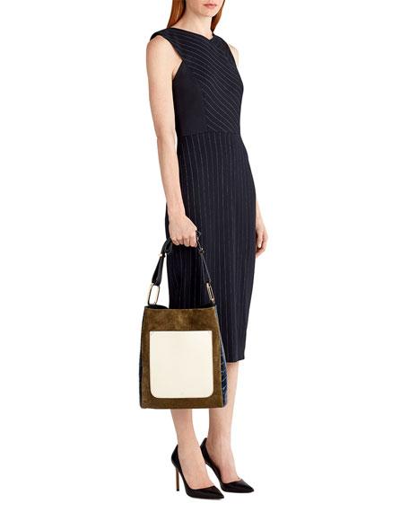 Pinstripe Stretch-Crepe Sheath Dress, White/Black