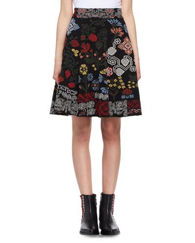 Metallic-Needlepoint Maxi Skirt