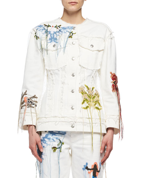 Alexander McQueen Needlepoint Embroidered Denim Jacket