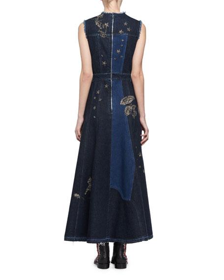 Embroidered Mixed-Denim Midi Dress