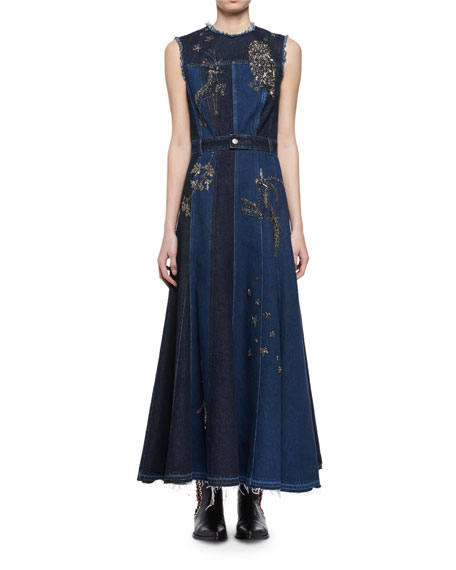 Embroidered Mixed-Denim Midi Dress