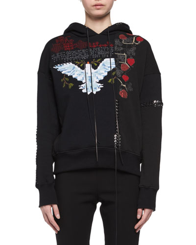 Needlepoint Embroidered Lace-Up Hoodie