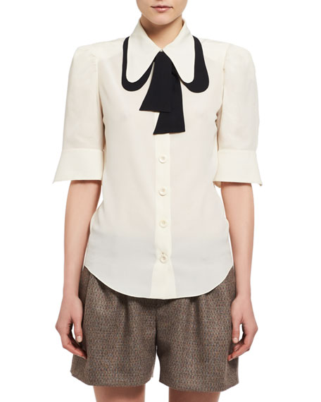 Chloe Contrast Tie-Neck Silk Shirt, White/Black and Matching