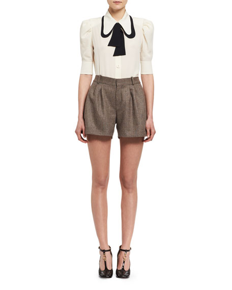 Fantasy Tweed Shorts, Beige