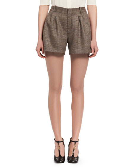 Chloe Fantasy Tweed Shorts, Beige