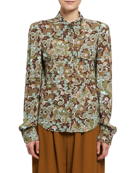 Chloe Butterfly Garden Paisley Viscose Shirt, Brown and