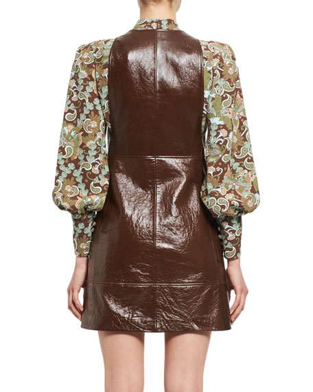 Leather Zip-Front Pinafore Dress, Brown