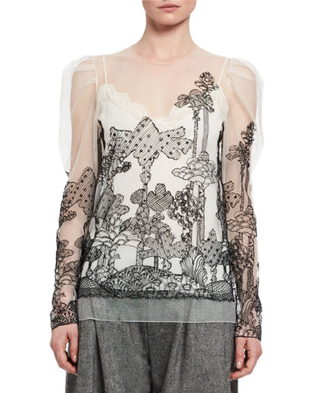 Chloe Dreamscape Embroidered Tulle Top