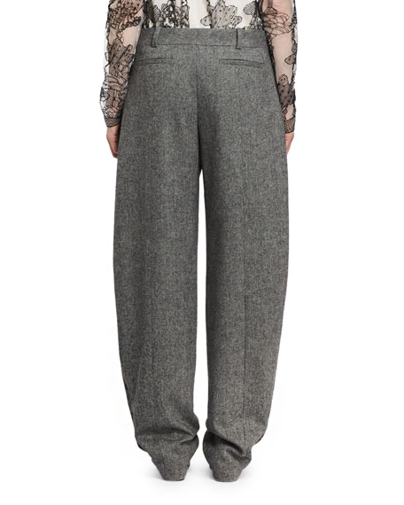Tweed Pleated Wide-Leg Pants