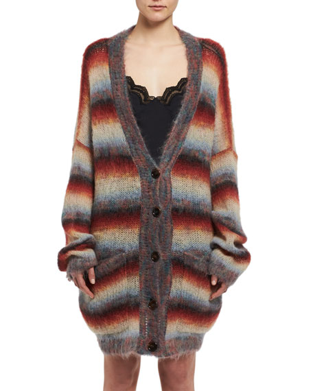 Striped Mohair Oversized Cardigan