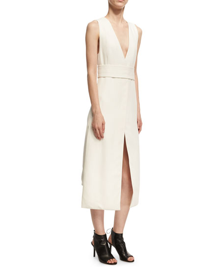 Narciso Rodriguez Sleeveless Viscose V-Neck Dress with Slits,