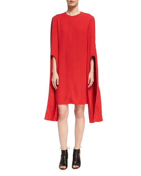Cape-Sleeve Viscose Shift Dress, Red