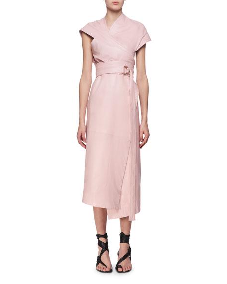 Proenza Schouler Belted Leather Asymmetric Midi Wrap Dress,