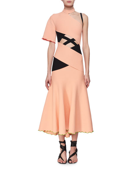 Proenza Schouler Exposed Bandage Asymmetric Midi Dress, Orange