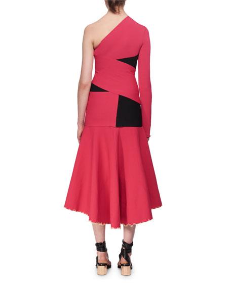 One-Shoulder Exposed Bandage Midi Dress, Fuchsia